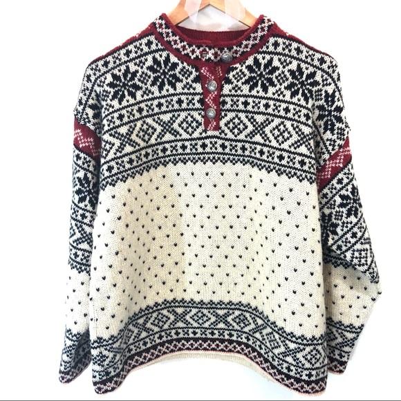 9142723000145 L.L. Bean Sweaters - L.L. Bean Vintage Fair Isle Nordic Wool Sweater
